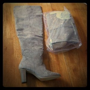 Taupe over the knee wide calf boots size 10